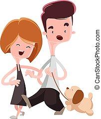 paar, hun, wandelende, aanhalen, dog