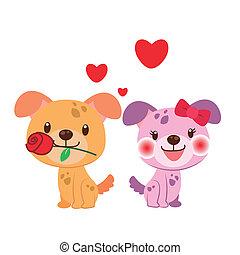 paar, hund, abbildung