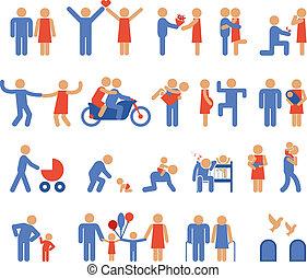 paar, iconen, assortiment, gezin, pictogram