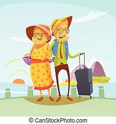 paar, illustratie, het reizen, senior