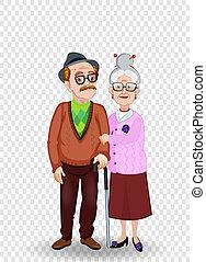 paar, illustratie, vector, bejaarden, vasthouden, spotprent, hands.