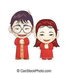 paar, in, chinesisches , heiraten kleid