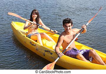 paar, in, een, kano