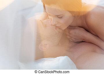 paar, intim, momente