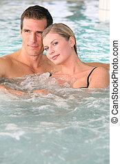 paar, jacuzzi, baden, spa, zentrieren