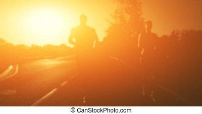 paar, jogging, in, der, park., 4k, 25, fps