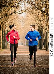paar, jogging, zusammen