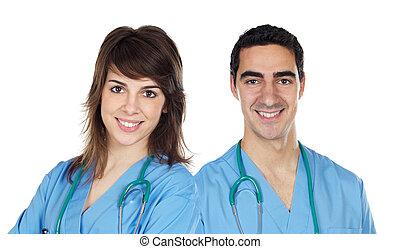paar, jonge, artsen