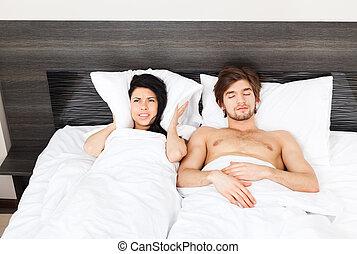 paar, jonge, bed