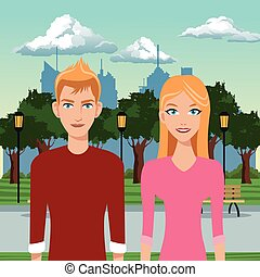 paar, jonge, in het park, met, stedelijke , achtergrond
