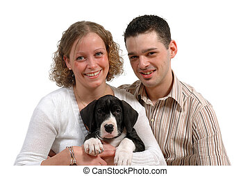 paar, junger, hund