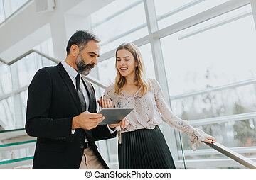 paar, kantoor, tablet, zakelijk, digitale