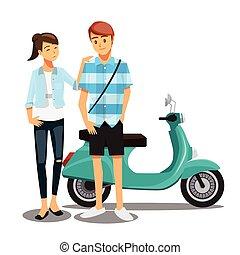paar, karakter, fiets, gezin, stripfiguren