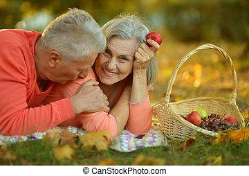paar, kaukasisch, bejaarden