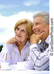 paar, kaukasisch, bejaarden, vrolijke