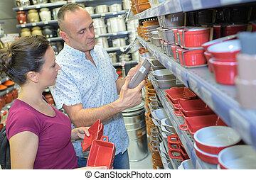 paar, keukengerei, winkel, aankoop