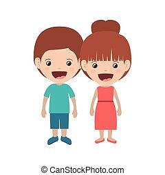 paar, kinder, lächeln