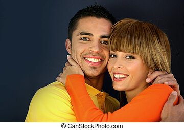 paar, kleurrijke, jonge, het koesteren