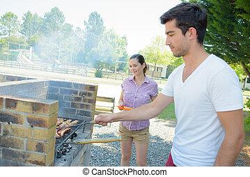 paar, kochen, barbeque