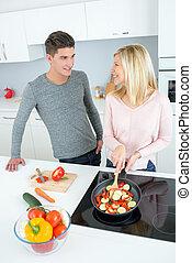 paar, kochen, junger