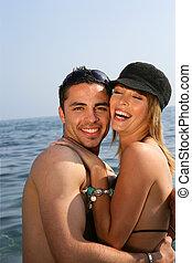 paar, kust, vrolijke