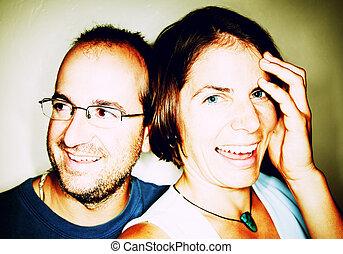 paar, lächeln