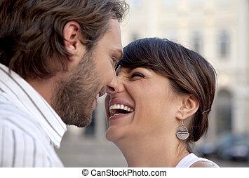 paar, lachender, glücklich