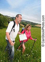 paar, landschaftsbild, natürlich, älter, wandern