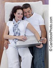 paar, laptop, karte, kaufen, kredit, online