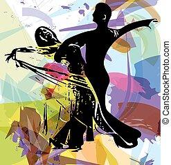 paar, latino, dancing