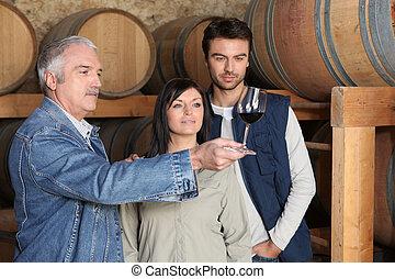 paar, leren, hoe, om te proeven, wijntje