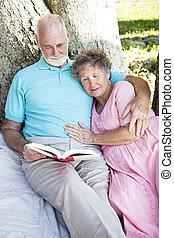 paar, lezende , samen, buitenshuis, senior