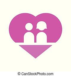 paar, liebe, herz, vektor, abbildung, grafik