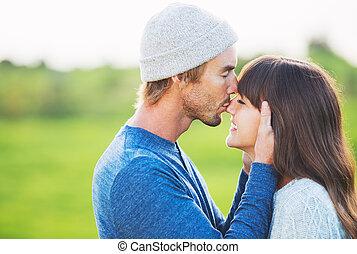 paar, liebe, junger, glücklich