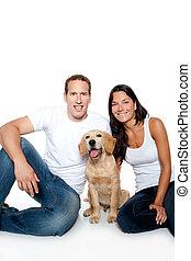 paar, liebe, junger hund, hund, goldener apportierhund