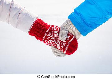 paar, liebe, winter