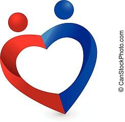 paar, lieben herz, symbol, logo, vektor, ikone