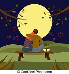 paar, liefde, het glanzen, rivier, sterretjes, vrouw, illustratie, vrijstaand, het knuffelen, vector, water, volle, boompje, silhouette, maan, wolken, man