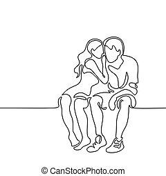paar, liefde, jonge, zittende
