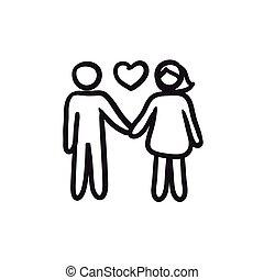 paar, liefde, schets, icon.