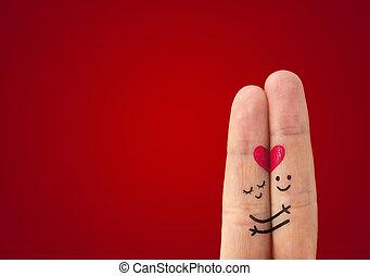 paar, liefde, ?, vrolijke