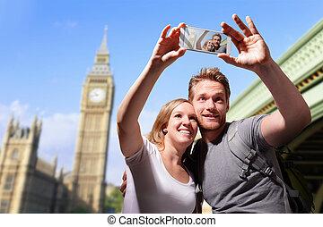 paar, londen, selfie, vrolijke