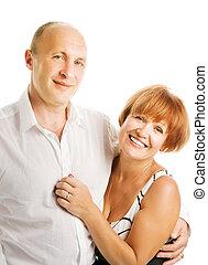 paar, love., van middelbare leeftijd, vrijstaand, achtergrond, witte
