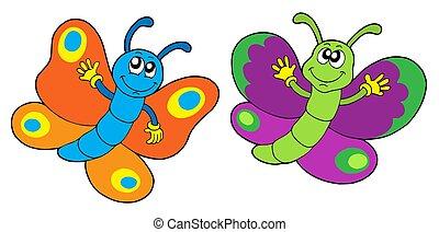 paar, lustiges, vlinders