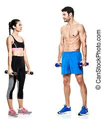 paar, mann frau, fitness, übungen, freigestellt