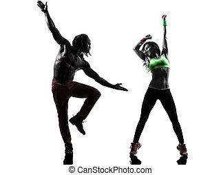 paar, mann frau, trainieren, fitness, zumba, tanzen, in, silhouette, weiß, hintergrund