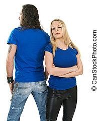 paar, met, leeg, blauwe hemden