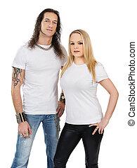 paar, met, leeg, witte overhemden