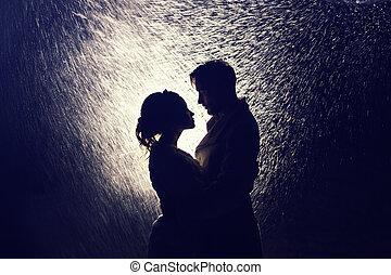 paar, minnaars, backlight, vrolijke