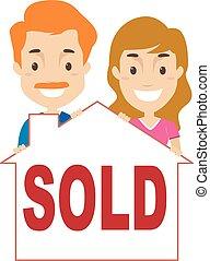 paar, mit, a, verkauft, haus, signage
